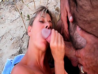 Cuckold at the beach with amateur big cook ten inch