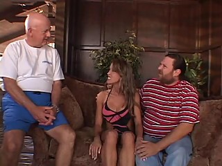 Cuckhold hubby watches his hot wife pounded by stud on a couch