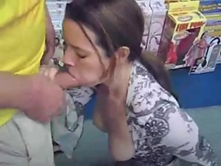 Blowjob in a porn store