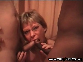Swinging cuckold granny interracial gangbang homemade video