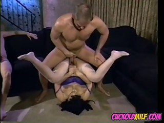 Cuckold MILF granny with pierced pussy fucked by three guys